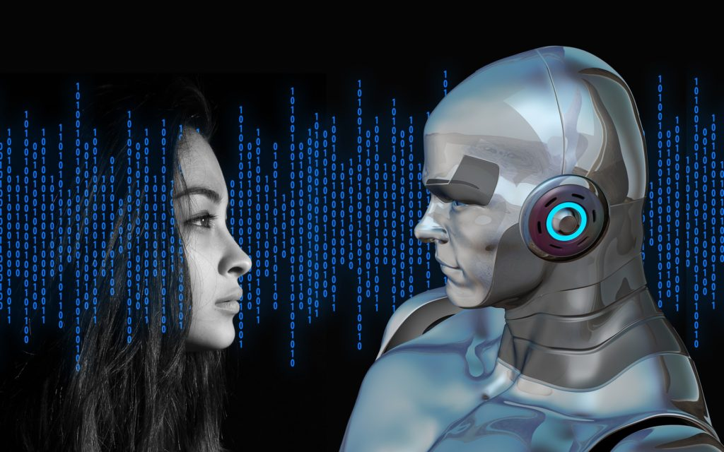 c.g.i. robot looking at woman's face